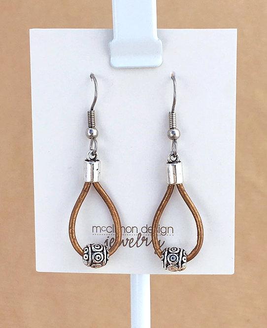 Gold Leather Loop earrings