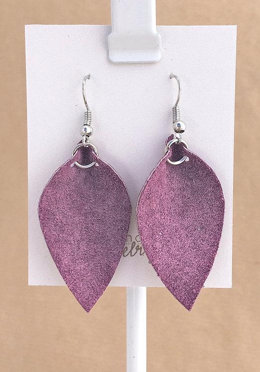 Small Purple Suede Petal earrings