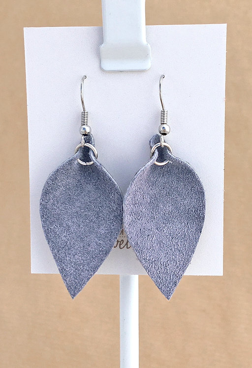 Small Gray Suede Petal earrings
