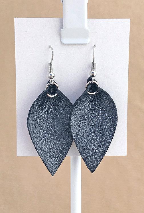 Small Metallic Black Leather Petal earrings