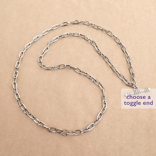 Silver large-link rectangle chain
