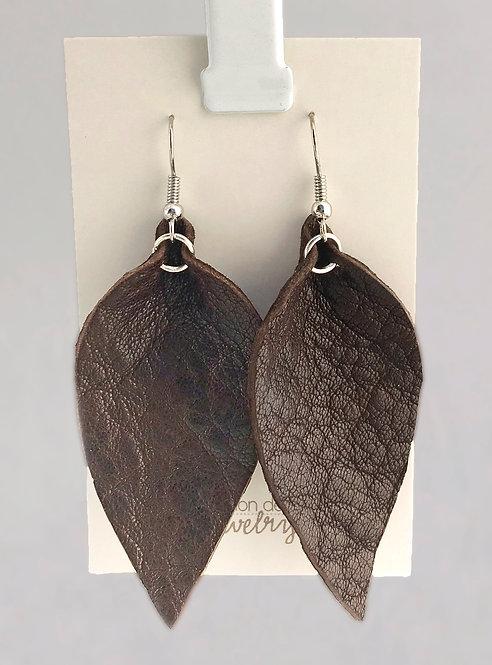 Dark Brown Leather Petal earrings