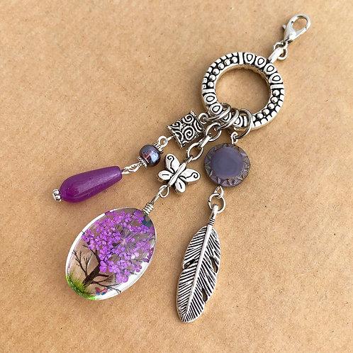 Purple Pressed Flower charm set