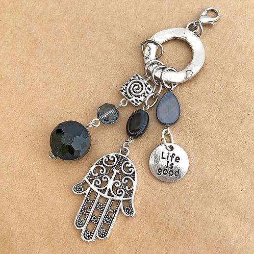 Black & Silver Hamsa Hand charm set
