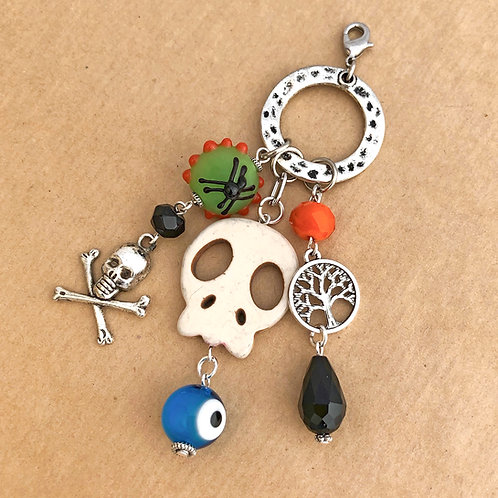 White Skull with Blue Eye charm set