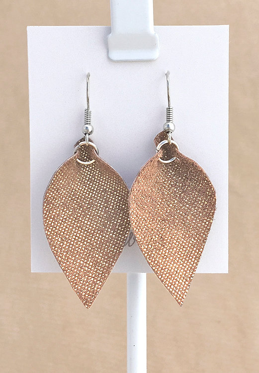 Small Gold Leather Petal earrings