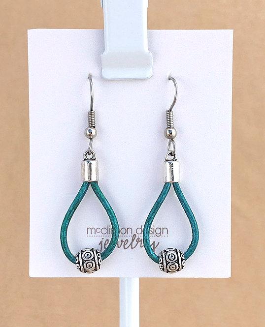 Teal Leather Loop earrings