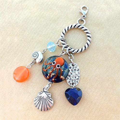 Orange Octopus charm set