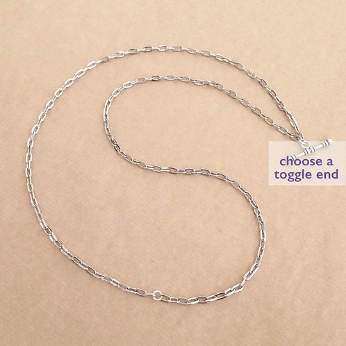 Silver medium-link rectangle chain
