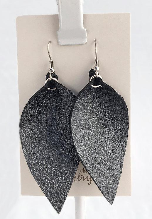 Metallic Black Leather Petal earrings