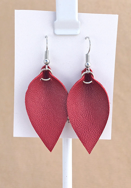 Small Red Leather Petal earrings