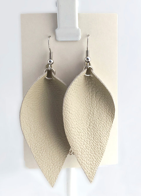 Ecru Leather Petal earrings