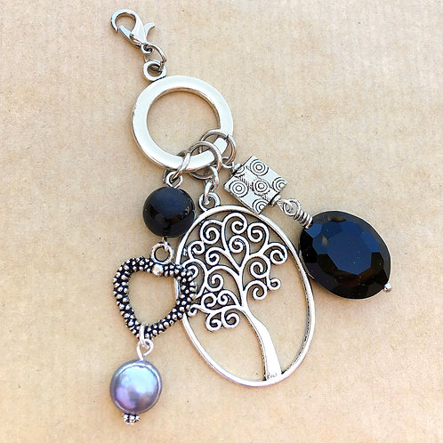 Black & Silver Tree of Life charm set