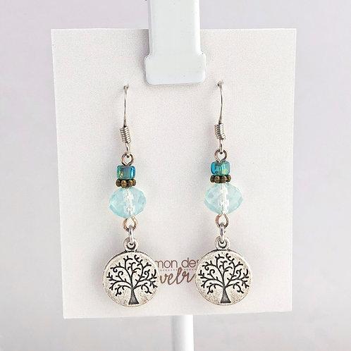 Aqua Tree of Life earrings