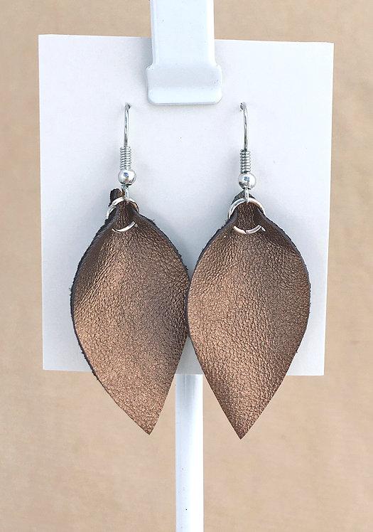 Small Bronze Leather Petal earrings