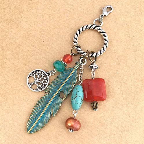 Patina Feather charm set