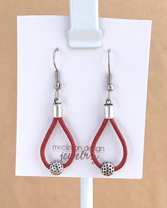 Red Leather Loop earrings