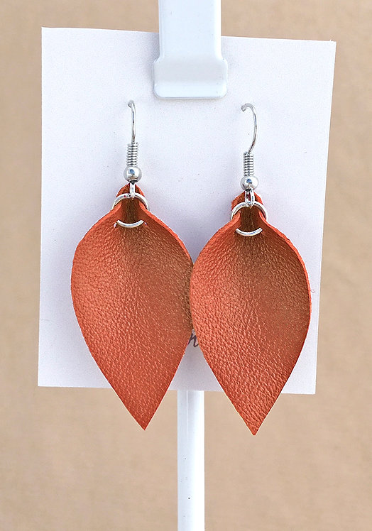 Small Orange Leather Petal earrings