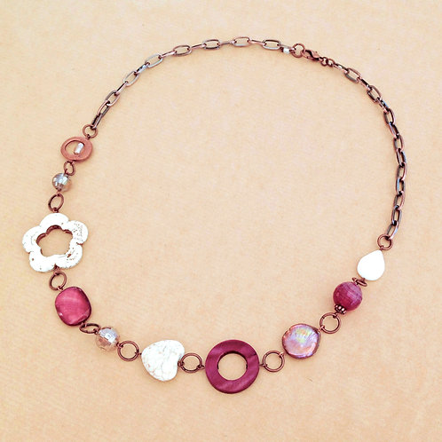 Magenta Hearts & Flowers necklace