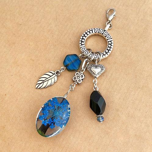 Royal Blue Pressed Flower charm set