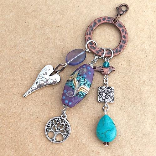 Purple & Blue Swirl charm set on copper
