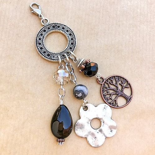 Black & Silver Flower charm set