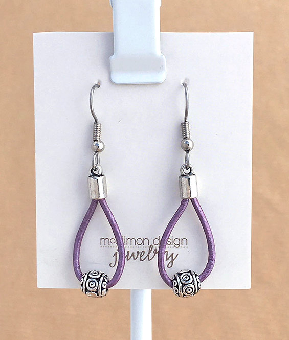 Purple Leather Loop earrings
