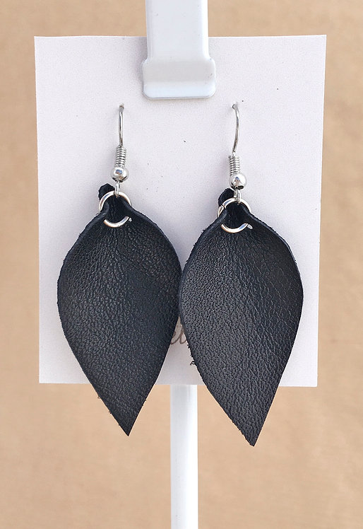 Small Black Leather Petal earrings