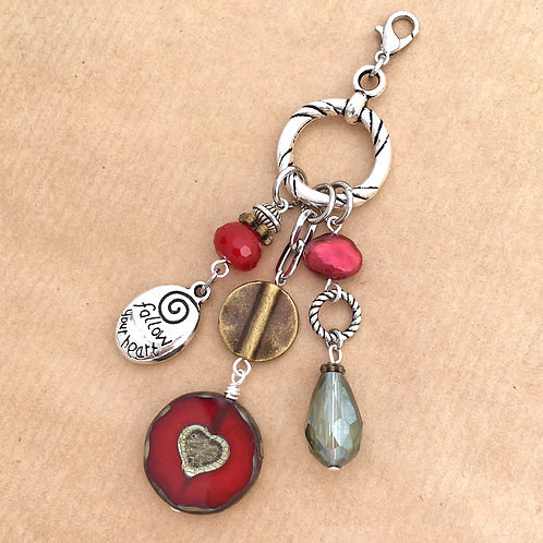 Ruby Heart charm set