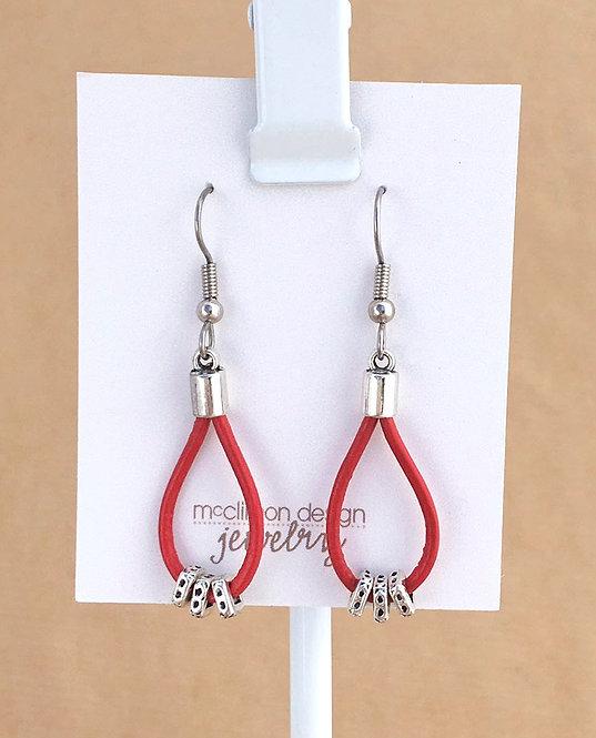 Bright Red Leather Loop earrings