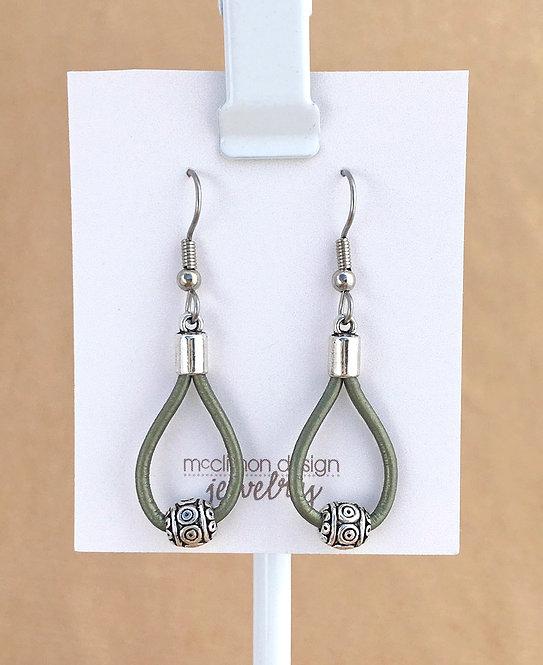 Olive Leather Loop earrings