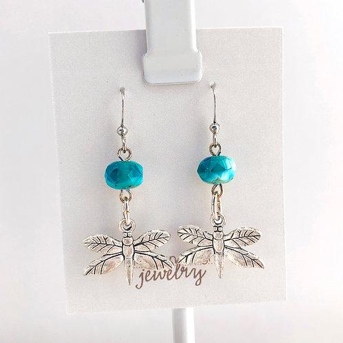 Teal Dragonfly earrings