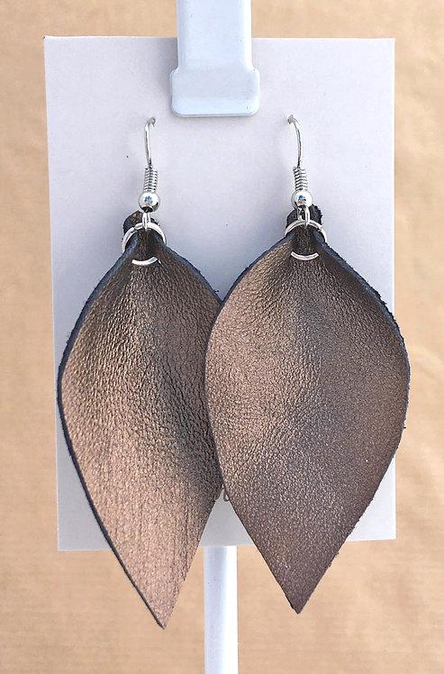Bronze Leather Petal earrings