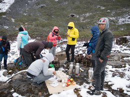 Preparing for a trek in the Himalaya