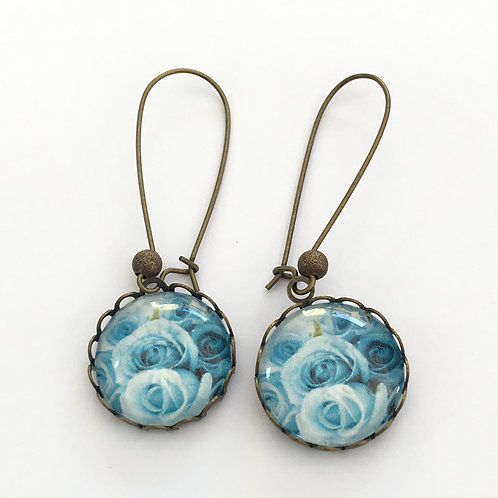 Boucles créoles Roses Blue Light