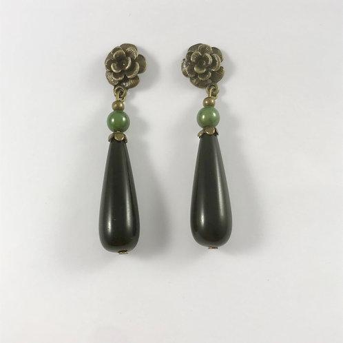 Boucles d'oreille GOUTTE,vert