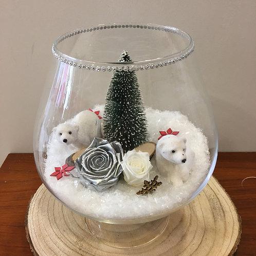 Compo Noël Blanc en verre