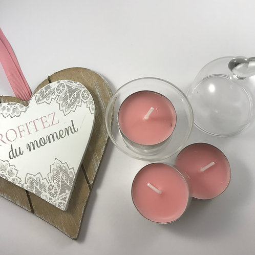 4 Bougies chauffe plat, rose clair