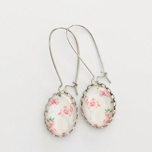Boucles créoles Flamant Rose, oval