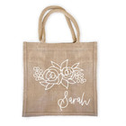 Personalized Floral Silhouette Burlap Tote