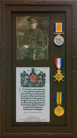 Framed World War I Medals
