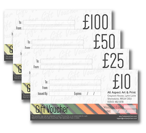 Gift Vouchers redeemable on all products and services from All Aspect Art & Print
