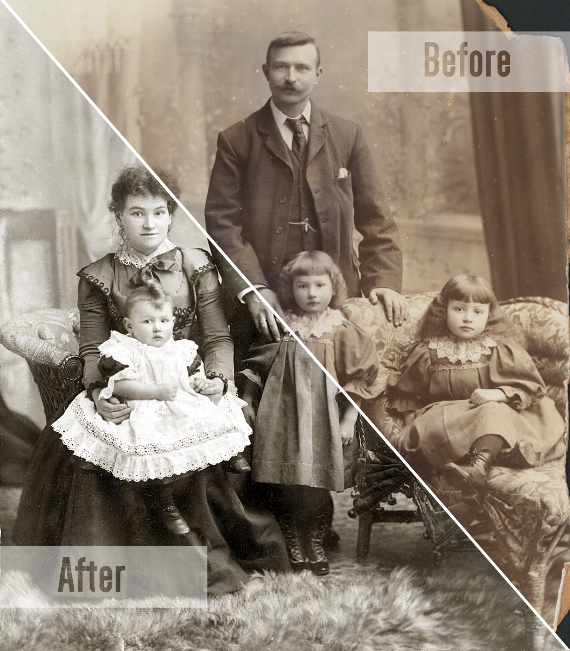 Split-View Family Photo Restoration