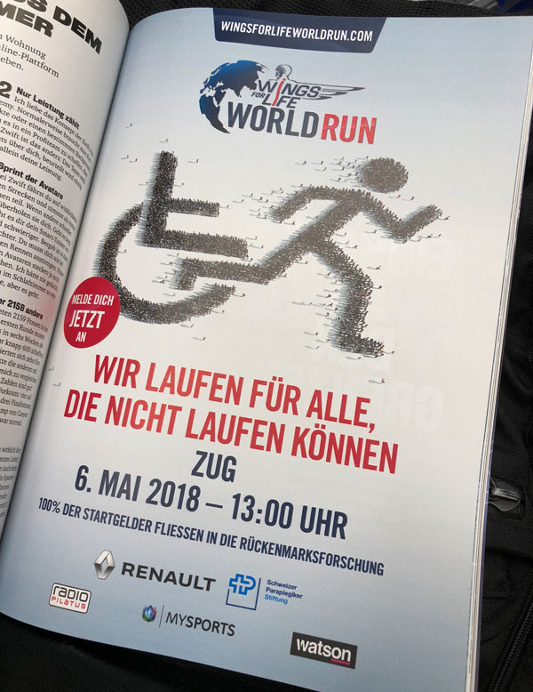 Inserat des wings for life world run