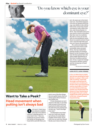 Golf Digest - Do you know which eye is your dominant eye?