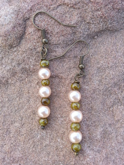 Chrysoprase and Pearl Dangles