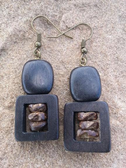 Tiger Ebony Earrings with Coconut Inlay