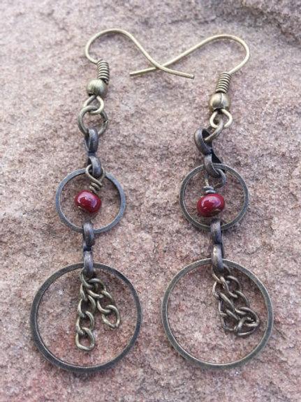 Beaded Brass Earrings