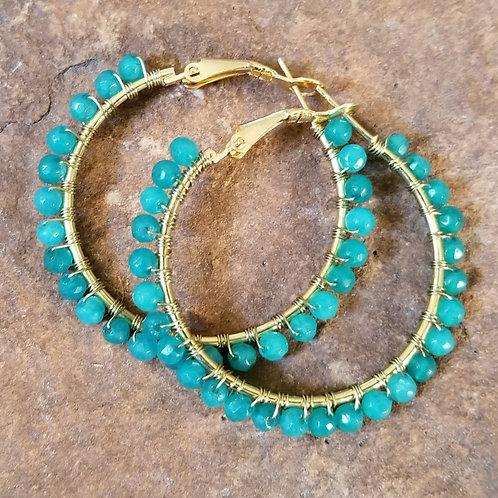 Blue Agate Hoops