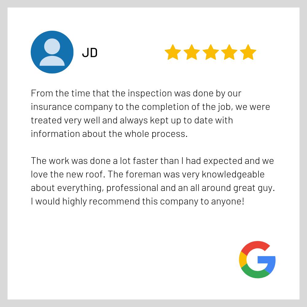 Google Review - Good Shepherd Roofing JD